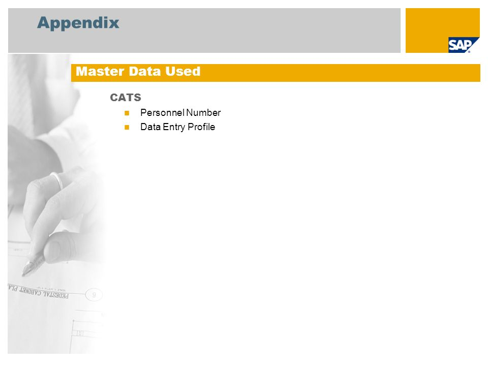 Appendix Master Data Used CATS Personnel Number Data Entry Profile