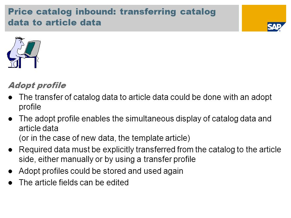Price catalog inbound: transferring catalog data to article data
