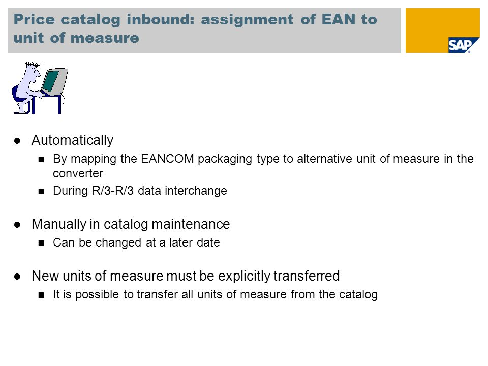 Price catalog inbound: assignment of EAN to unit of measure