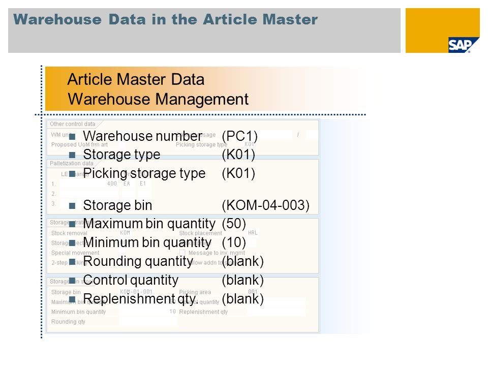 Warehouse Data in the Article Master