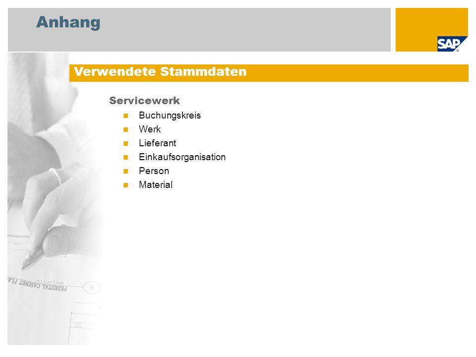 Anhang Verwendete Stammdaten Servicewerk Buchungskreis Werk Lieferant