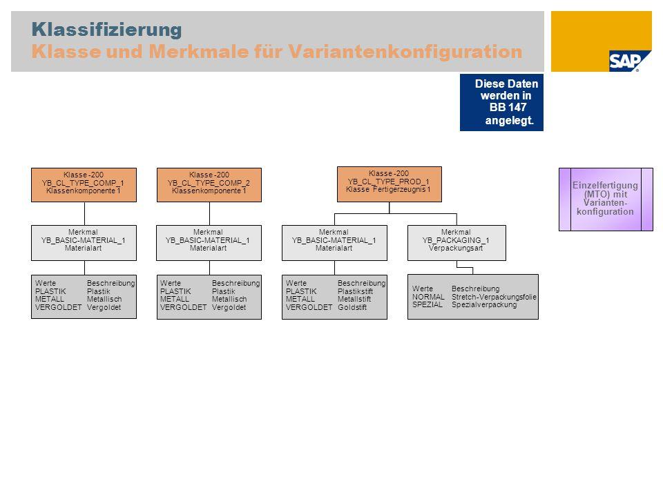 Klassifizierung Klasse und Merkmale für Variantenkonfiguration