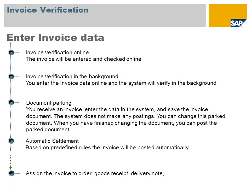 Enter Invoice data Invoice Verification