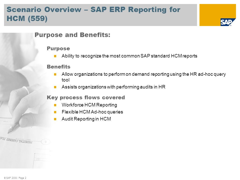 Scenario Overview – SAP ERP Reporting for HCM (559)