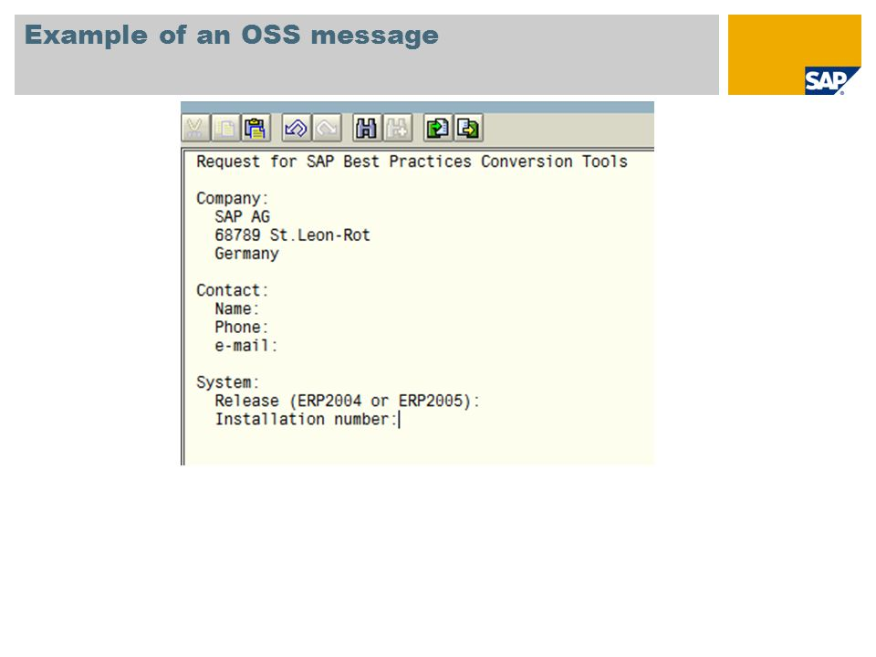 Example of an OSS message