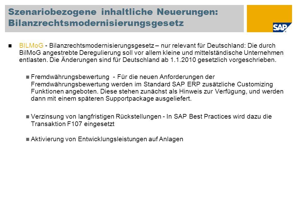 Szenariobezogene inhaltliche Neuerungen: Bilanzrechtsmodernisierungsgesetz