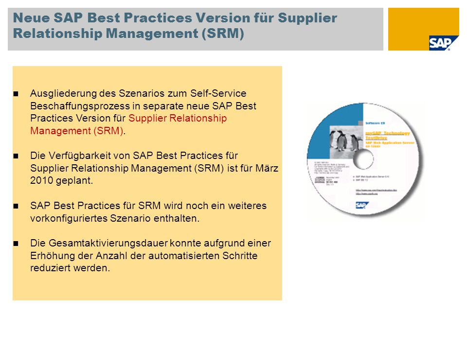 Neue SAP Best Practices Version für Supplier Relationship Management (SRM)