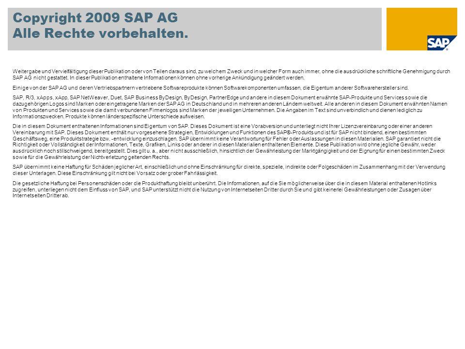 Copyright 2009 SAP AG Alle Rechte vorbehalten.