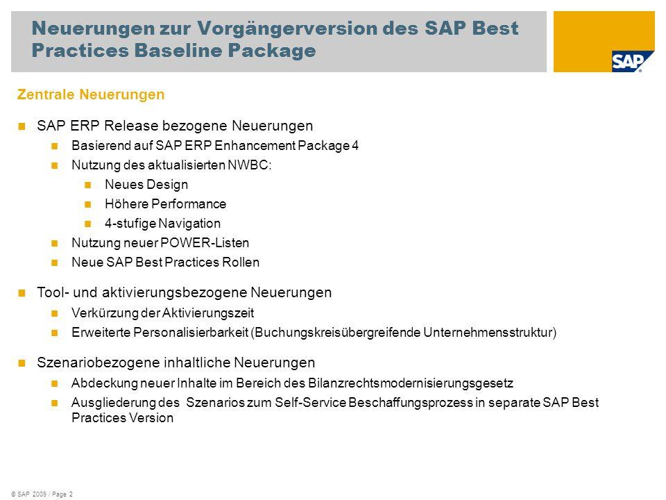 Neuerungen zur Vorgängerversion des SAP Best Practices Baseline Package