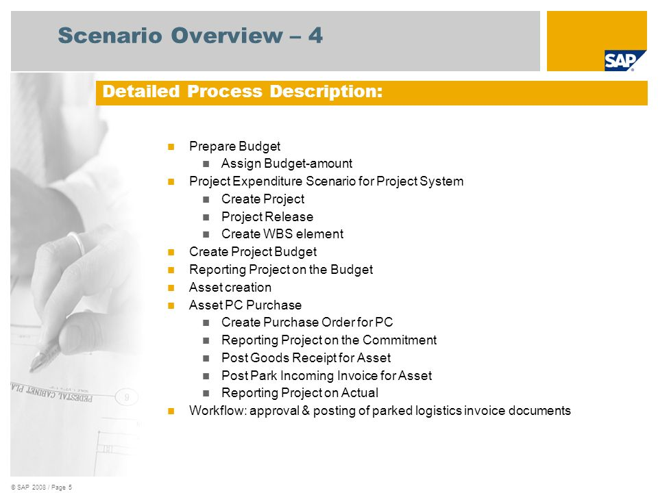 Scenario Overview – 4 Detailed Process Description: Prepare Budget