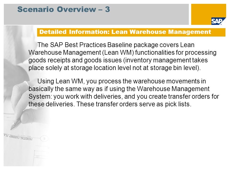 Scenario Overview – 3 Detailed Information: Lean Warehouse Management.