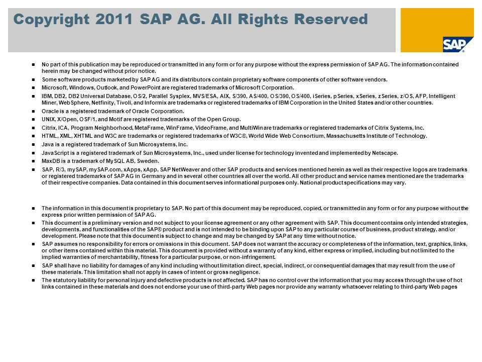 Copyright 2011 SAP AG. All Rights Reserved