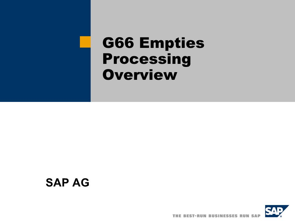 G66 Empties Processing Overview