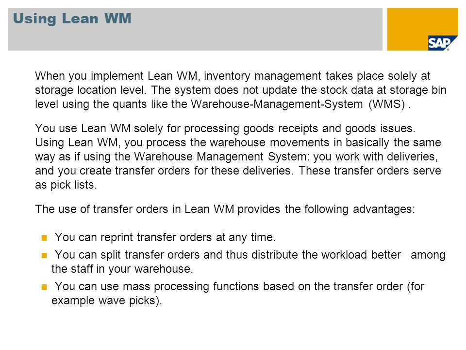 Using Lean WM
