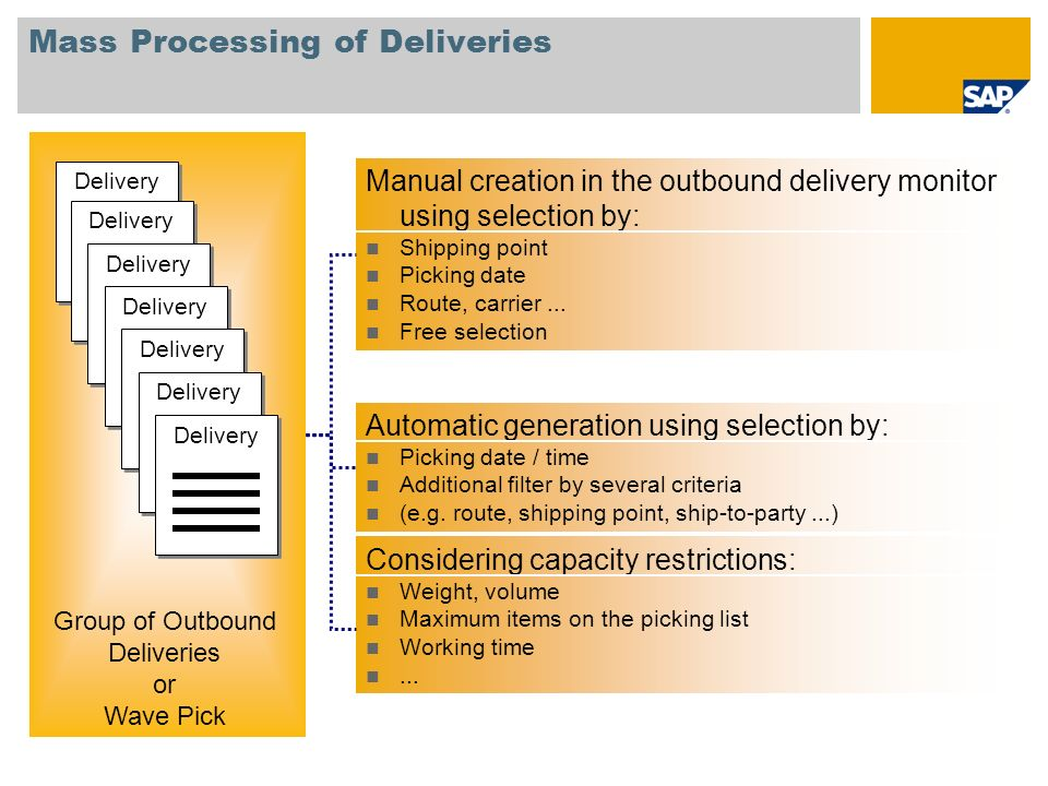 Mass Processing of Deliveries