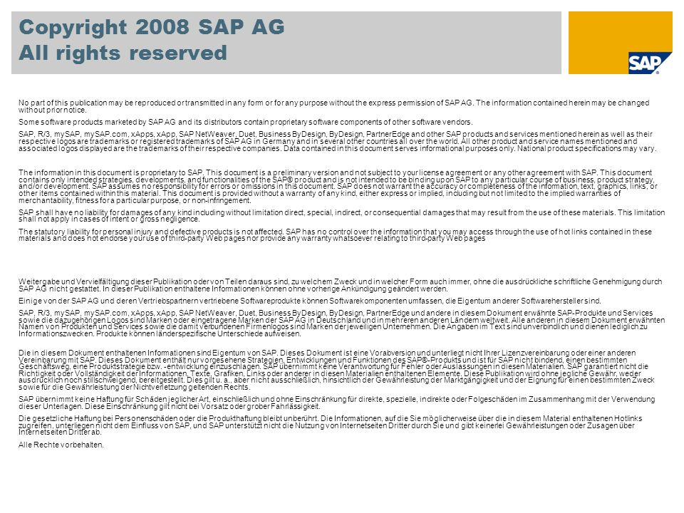 Copyright 2008 SAP AG All rights reserved