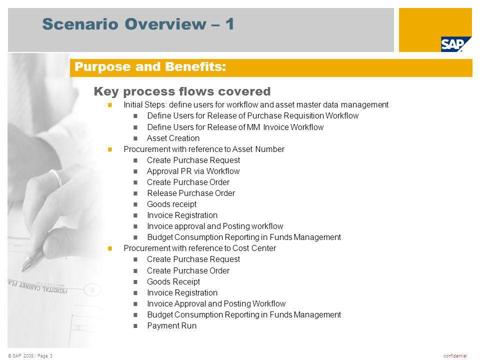 Scenario Overview – 1 Purpose and Benefits: Key process flows covered