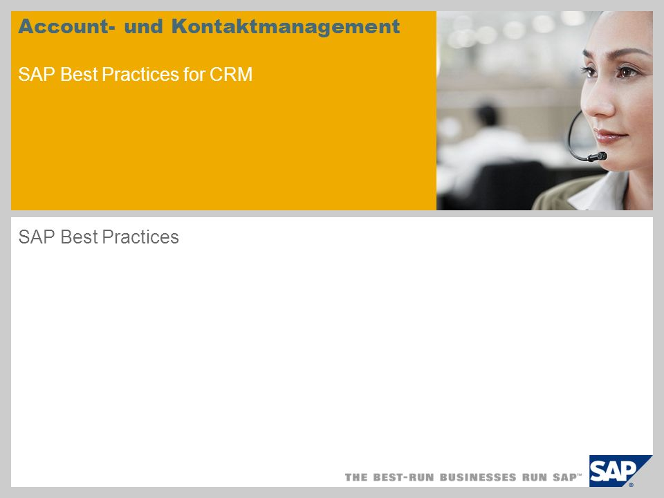 Account- und Kontaktmanagement SAP Best Practices for CRM