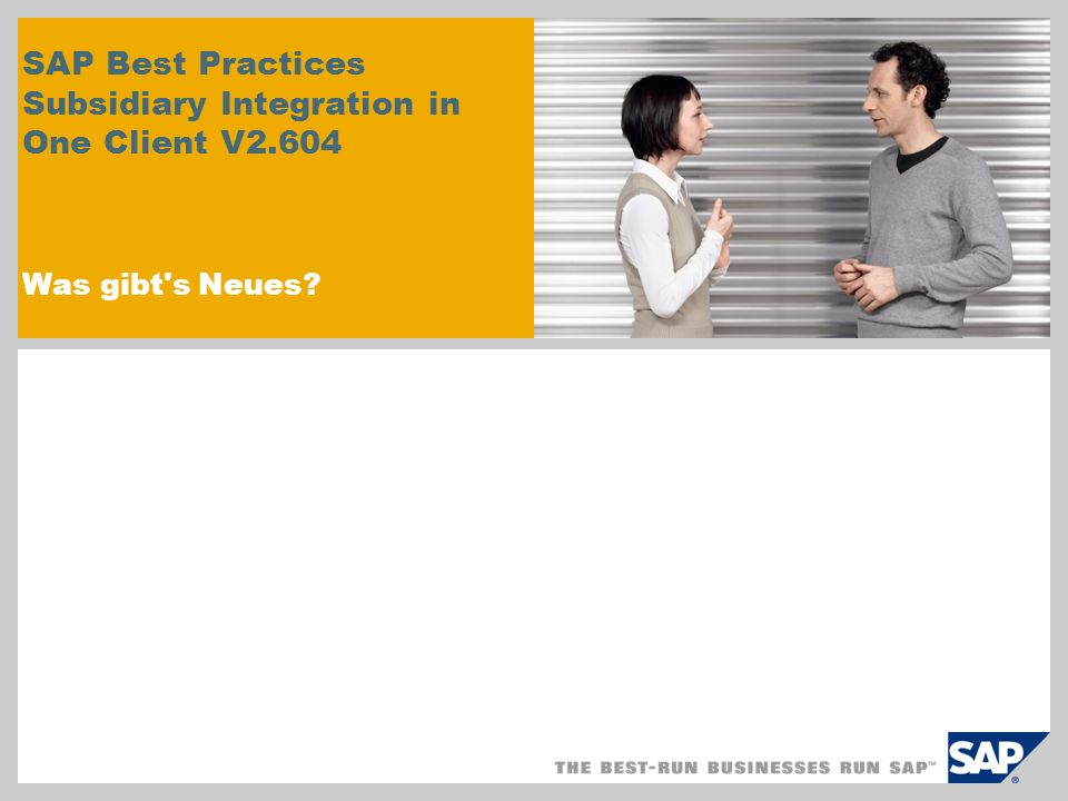 SAP Best Practices Subsidiary Integration in One Client V2