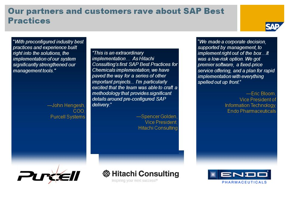 Our partners and customers rave about SAP Best Practices