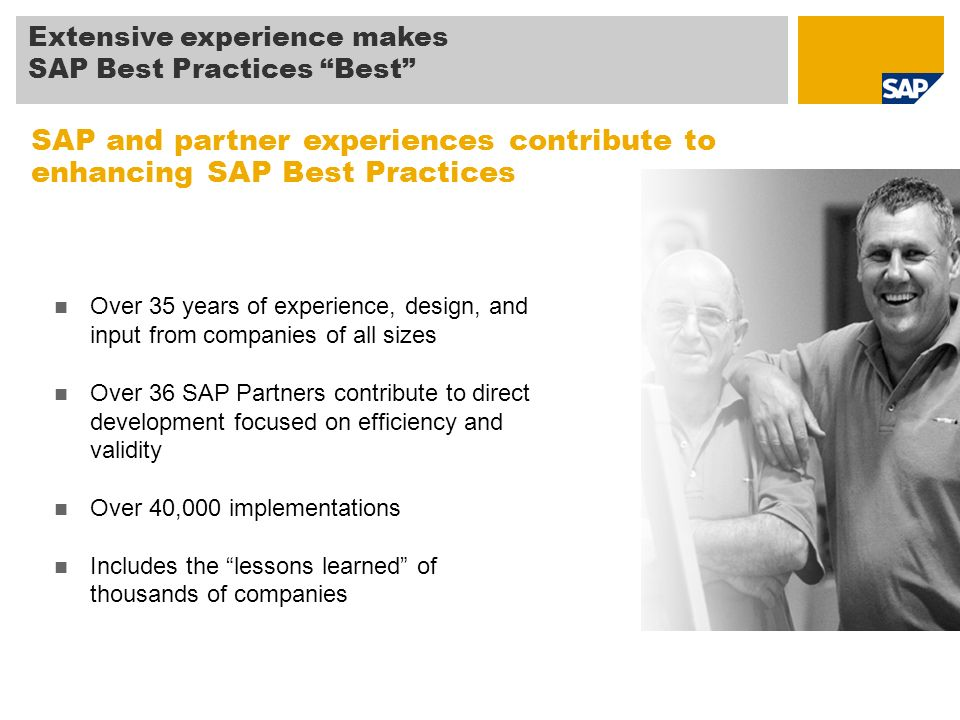 SAP and partner experiences contribute to enhancing SAP Best Practices