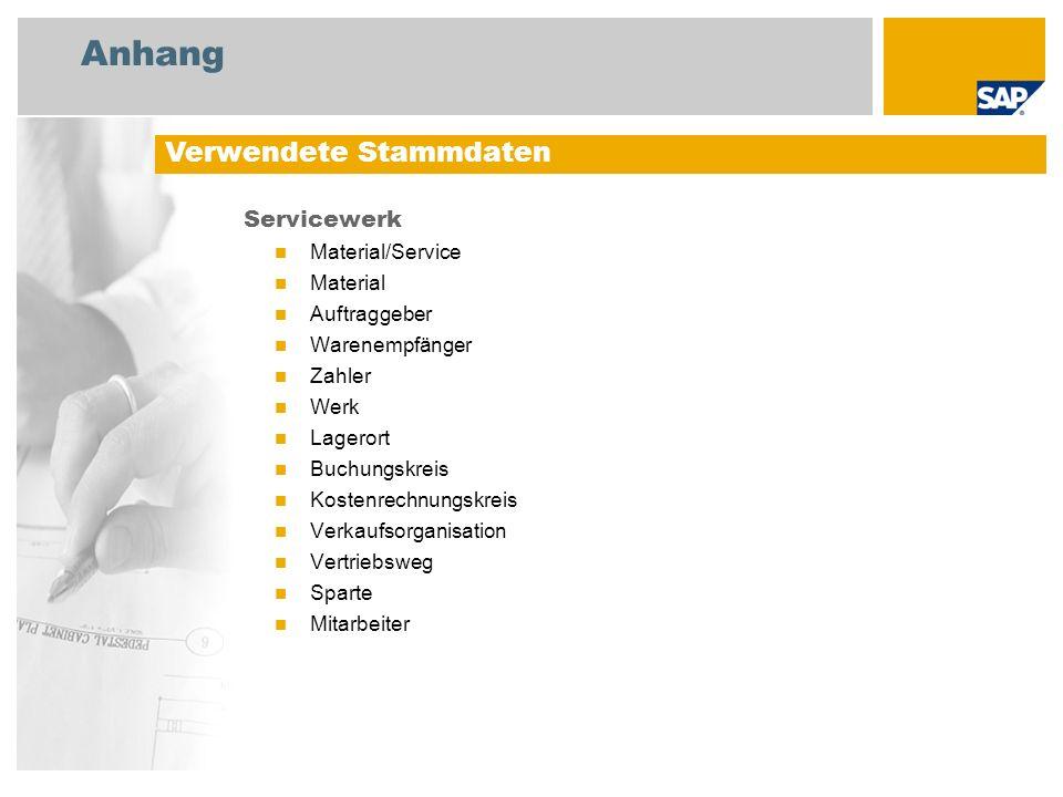 Anhang Verwendete Stammdaten Servicewerk Material/Service Material