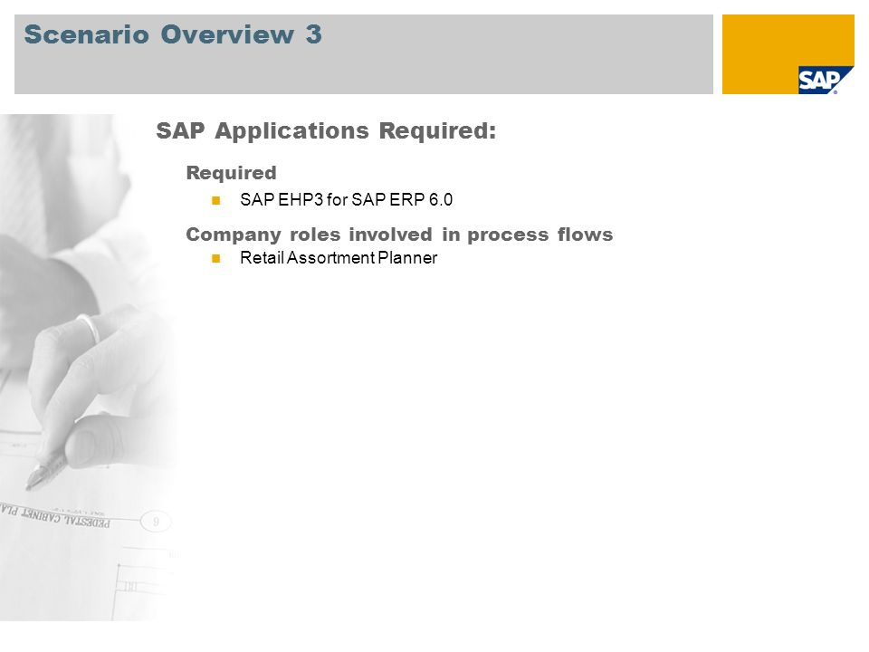 Scenario Overview 3 SAP Applications Required: Required