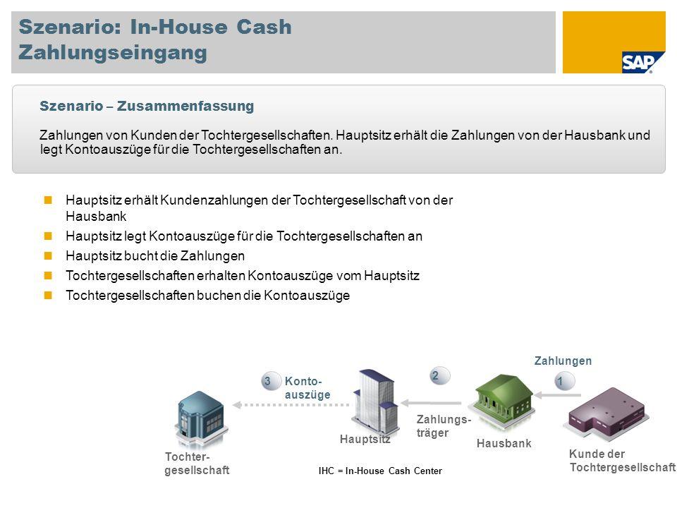 Szenario: In-House Cash Zahlungseingang