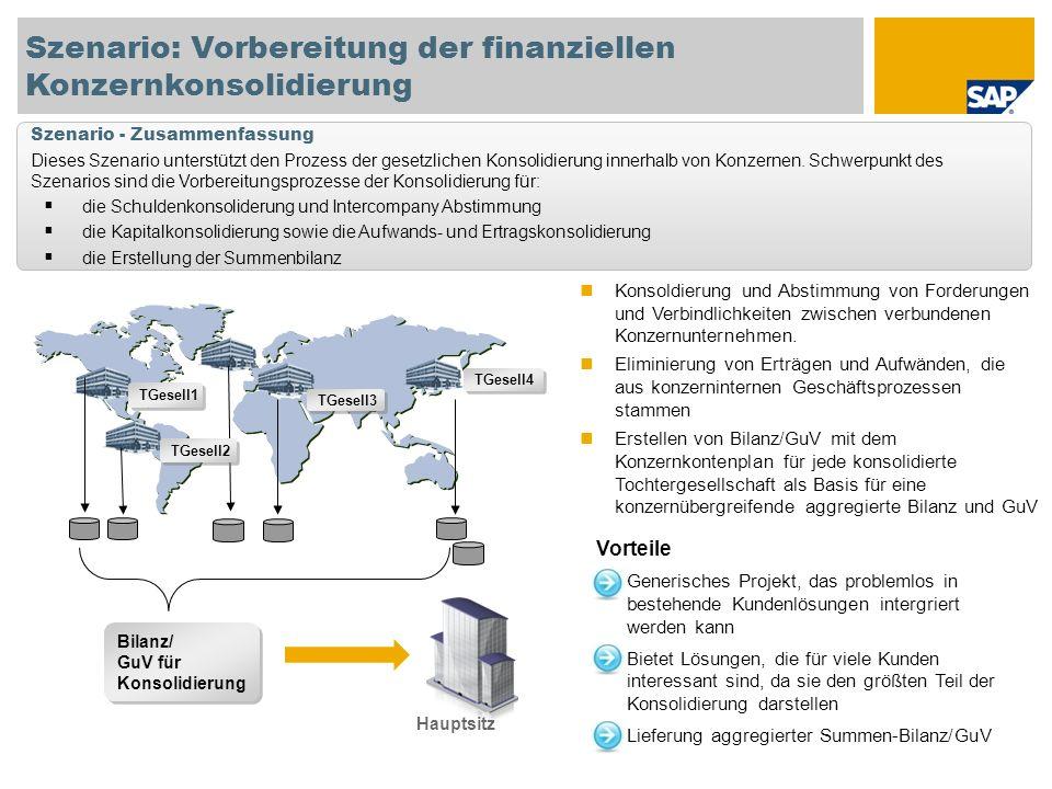 Szenario: Vorbereitung der finanziellen Konzernkonsolidierung