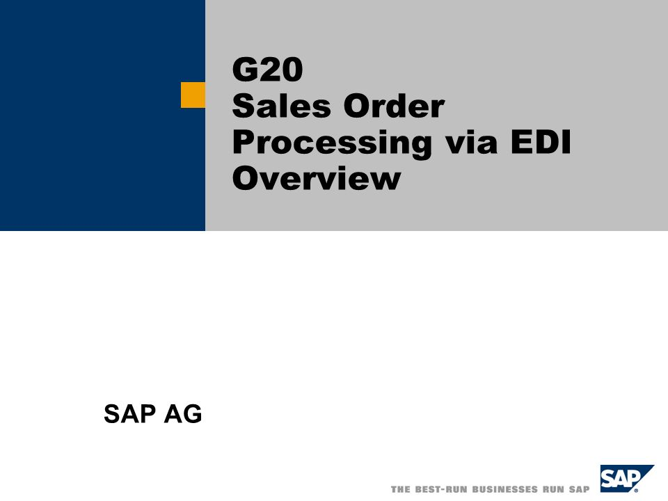 G20 Sales Order Processing via EDI Overview