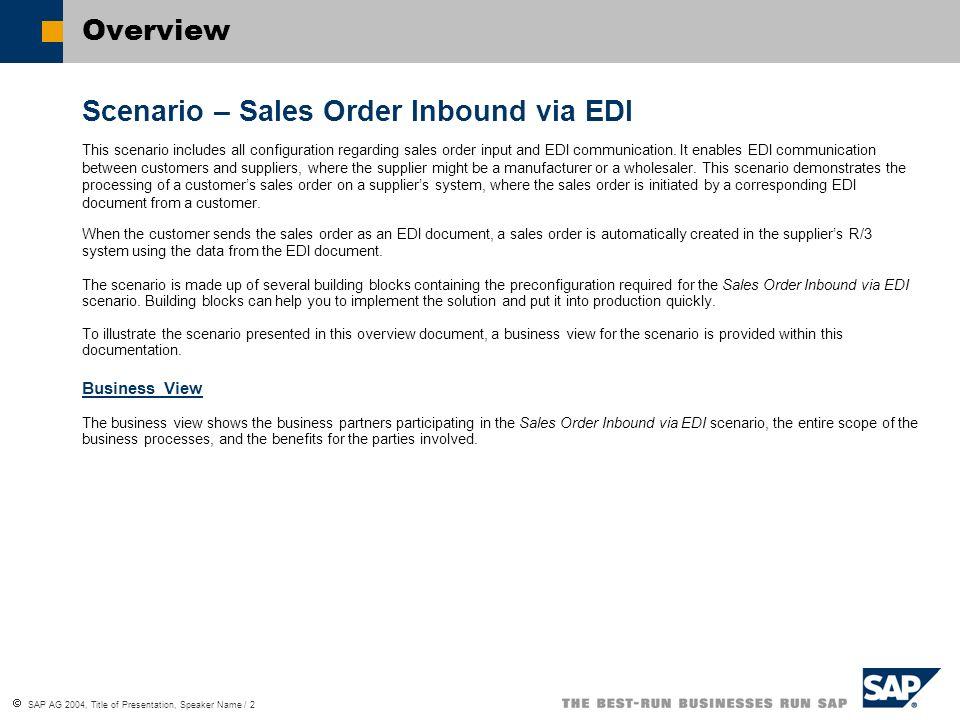 Scenario – Sales Order Inbound via EDI