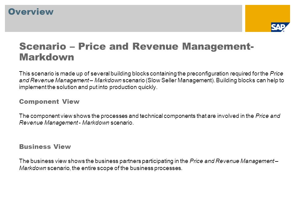 Scenario – Price and Revenue Management- Markdown