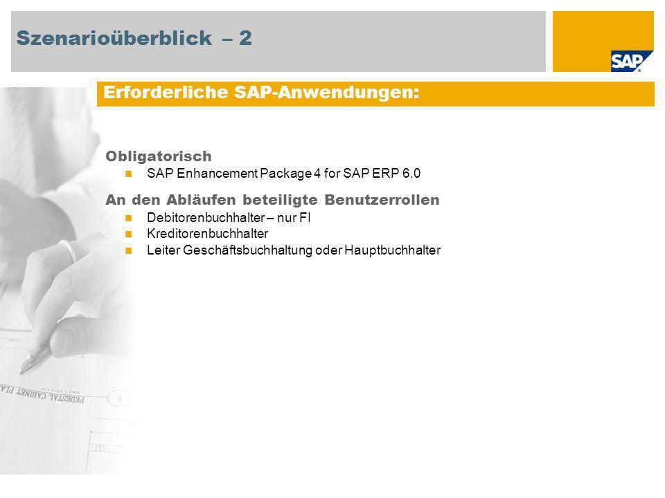Szenarioüberblick – 2 Erforderliche SAP-Anwendungen: Obligatorisch