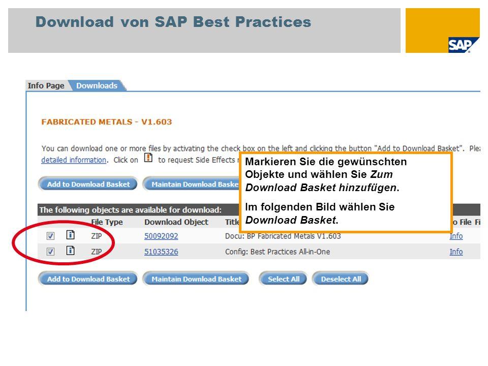 Download von SAP Best Practices