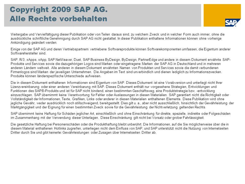 Copyright 2009 SAP AG. Alle Rechte vorbehalten