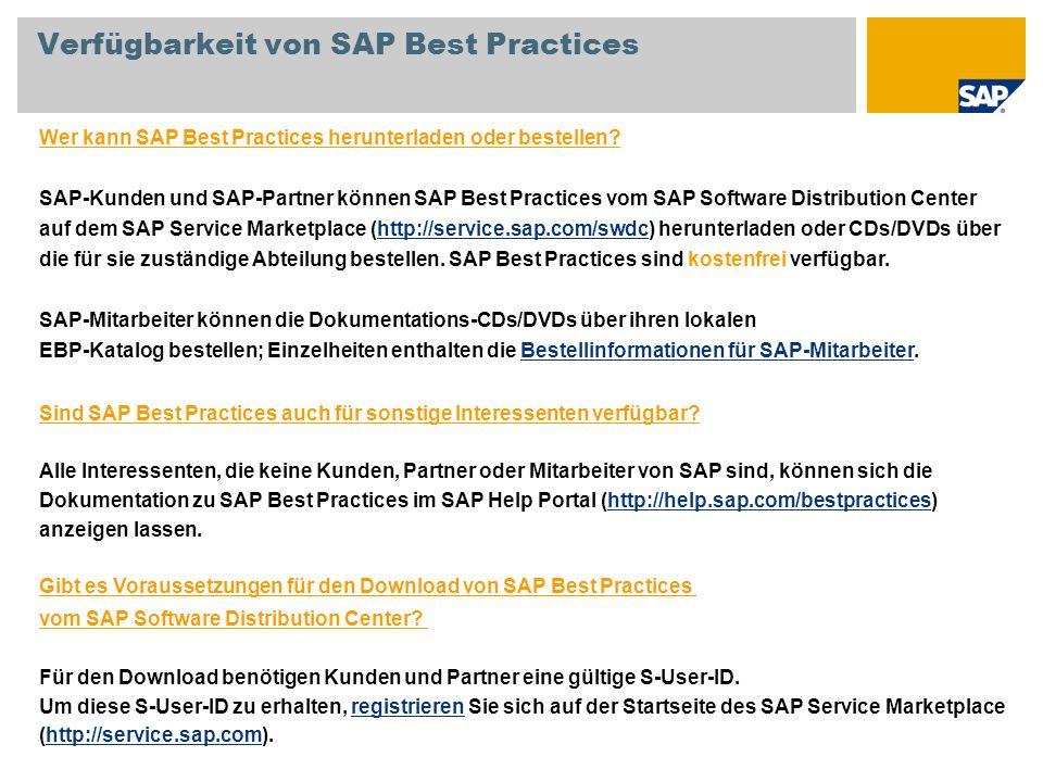 Verfügbarkeit von SAP Best Practices