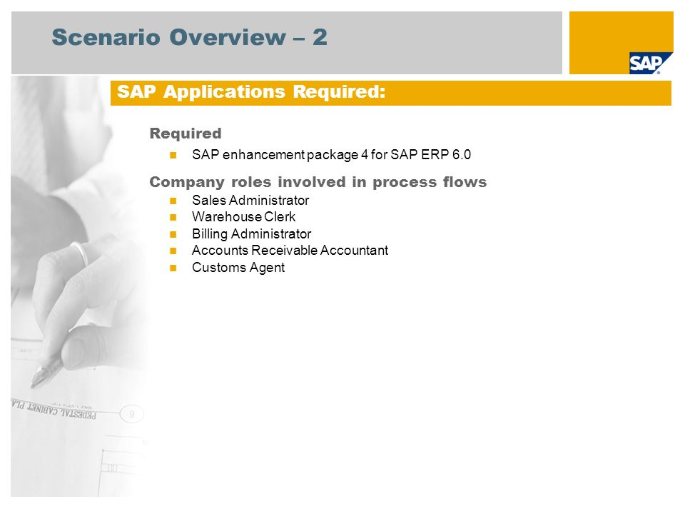 Scenario Overview – 2 SAP Applications Required: Required