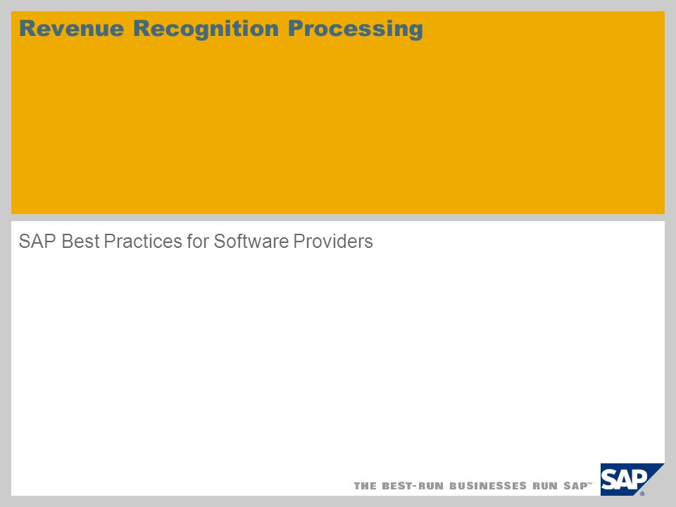 Revenue Recognition Processing