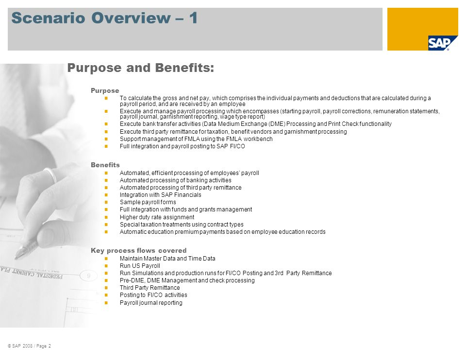 Scenario Overview – 1 Purpose and Benefits: