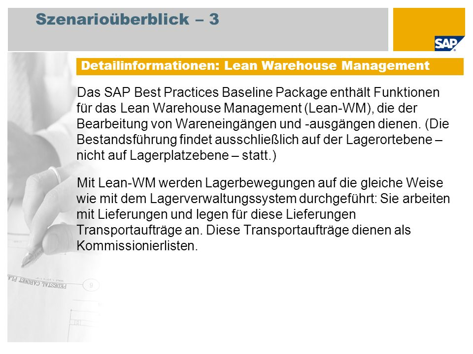Szenarioüberblick – 3 Detailinformationen: Lean Warehouse Management.