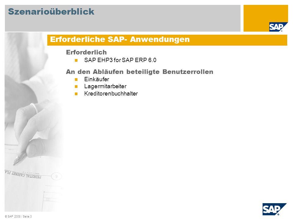 Szenarioüberblick Erforderliche SAP- Anwendungen Erforderlich