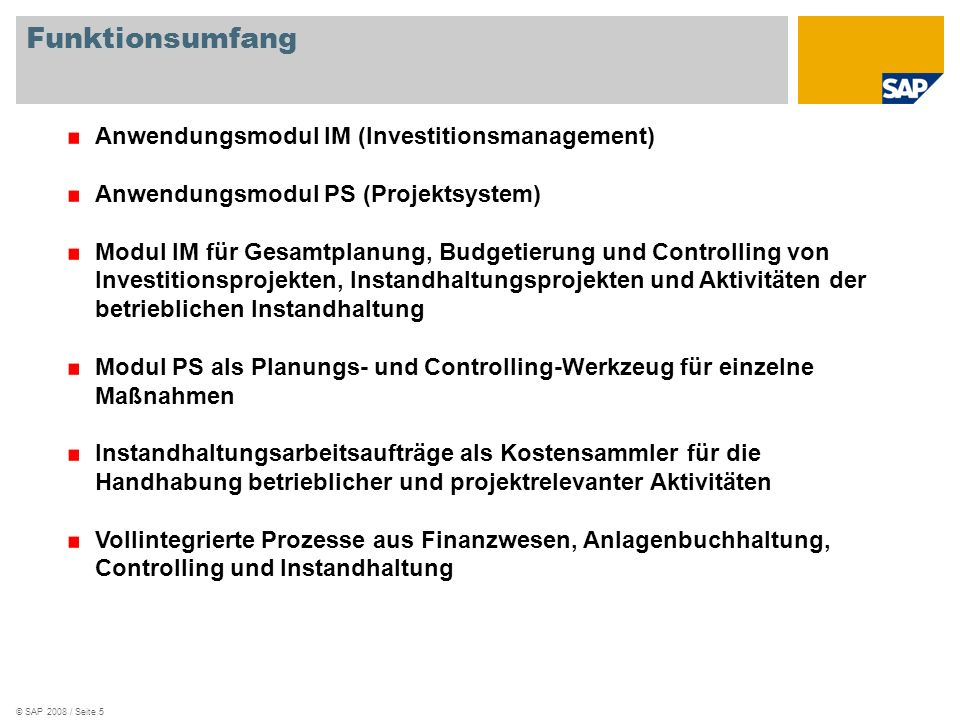 Funktionsumfang Anwendungsmodul IM (Investitionsmanagement)