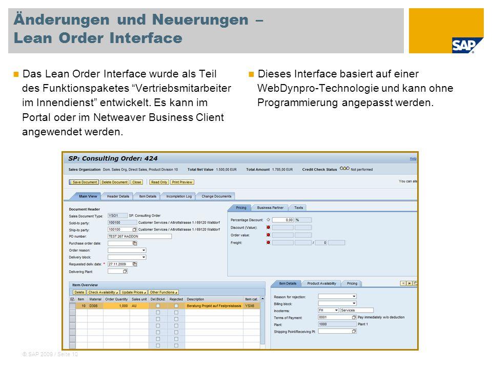 Änderungen und Neuerungen – Lean Order Interface