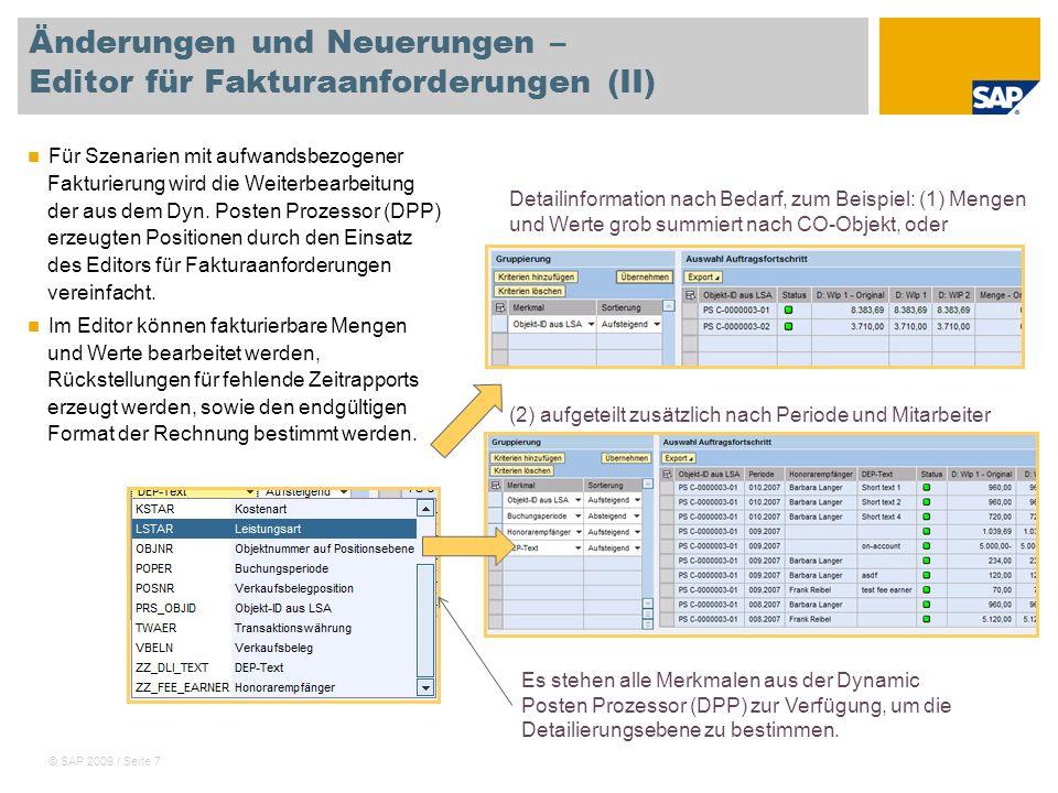 Änderungen und Neuerungen – Editor für Fakturaanforderungen (II)