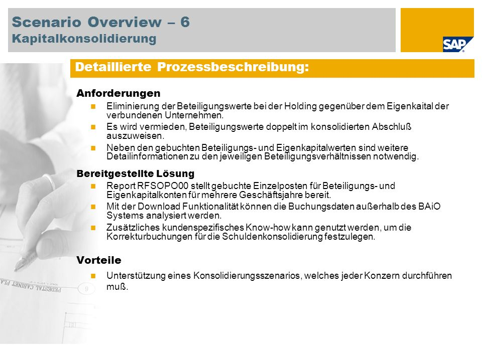 Scenario Overview – 6 Kapitalkonsolidierung