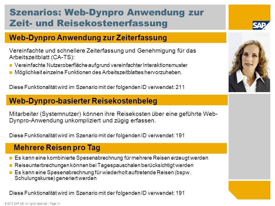 Szenarios: Web-Dynpro Anwendung zur Zeit- und Reisekostenerfassung