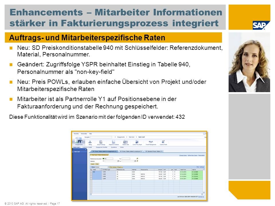 Enhancements – Mitarbeiter Informationen stärker in Fakturierungsprozess integriert