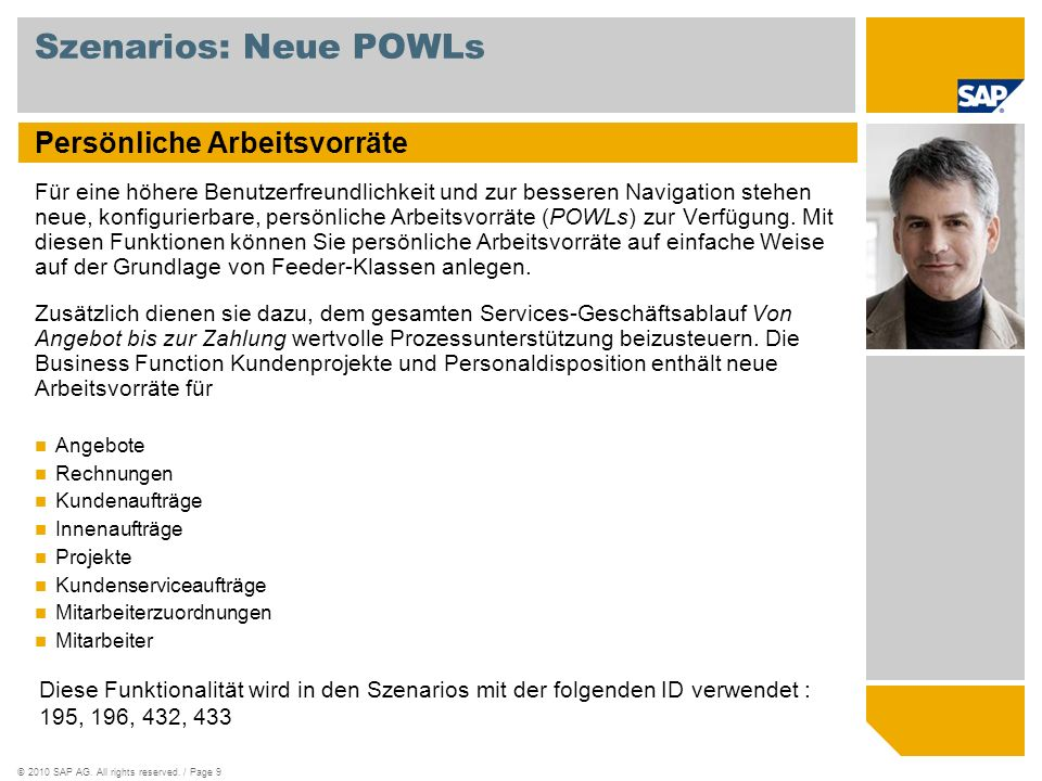 Szenarios: Neue POWLs Persönliche Arbeitsvorräte