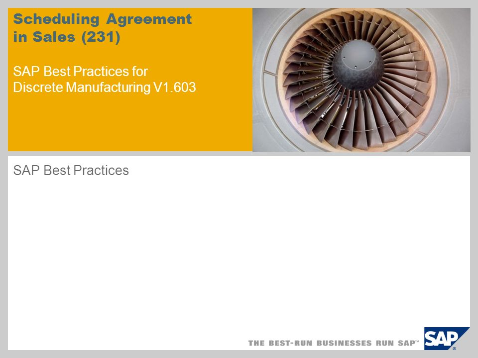 Scheduling Agreement in Sales (231) SAP Best Practices for Discrete Manufacturing V1.603