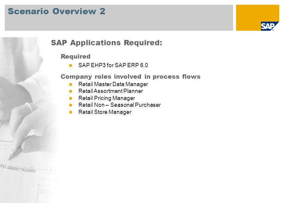 Scenario Overview 2 SAP Applications Required: Required